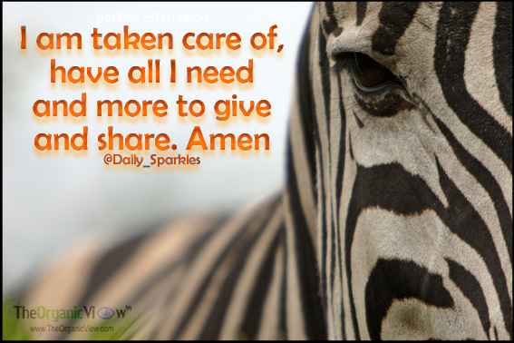 I am taken care of, have all I need and more to give and share. Amen