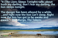 The Lions Sleeps Tonight talks about hush my darling, don't fear my darling, the lion sleeps tonight