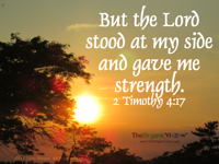 But the Lord stood at my side and gave me strength. 2 Timothy 4:17