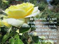 In the end, it's not going to matter how many breaths you took, but how many moments took your breath away. Shing Xiong