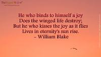 He who binds to himself a joy Does the winged life destroy