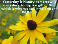 Yesterday is history, tomorrow is a mystery, today is a gift of God, which is why we call it the present. Bil Keane