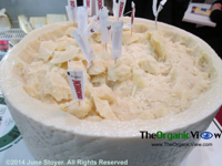 Cheese samples on display at the Summer Fancy Foods Show 2014