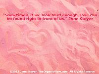 Love can be found right in front of us if we just look hard enough. -June Stoyer